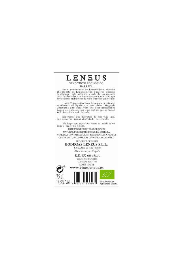 Caja de 5+1 botellas de Leneus Barrica